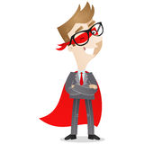 Confident businessman as superhero winking Royalty Free Stock Image