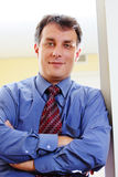 Confident businessman in blue shirt Royalty Free Stock Photo
