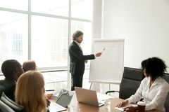 Confident businessman or business coach giving presentation to m royalty free stock image