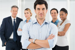 Confident Businessman With Coworker royalty free stock image
