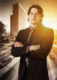 Confident businessman with crossed arms Stock Photos