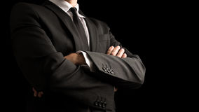 Confident Businessman Crossing Arms on Front Stock Image