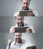 Confident businessman with digital tablet, photo collage Royalty Free Stock Photos