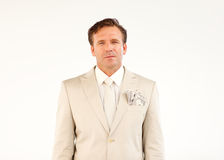 Confident businessman with dollars in his pocket Stock Image