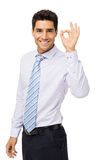 Confident Businessman Gesturing Okay Stock Photography