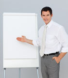 Confident businessman giving a presentation royalty free stock image