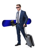 Confident businessman going for a winter break. Isolated Stock Photos
