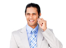 Confident businessman with headset on Stock Photography