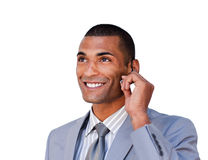 Confident businessman with headset on Stock Image