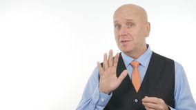 Confident Businessman Image in Interview Speaking and Gesturing stock photo