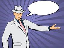 Confident businessman indicates direction Stock Photos