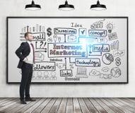 Confident businessman and internet marketing stock photo