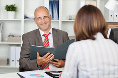 Confident businessman in interview Royalty Free Stock Photos