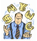 Confident businessman juggling currency symbols. A happy and confident businessman juggling the currency symbols for dollars, rupees, yen, pounds, and euros Royalty Free Stock Image