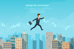 Confident businessman jumping Royalty Free Stock Image
