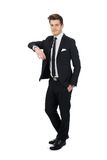 Confident businessman leaning on invisible wall Royalty Free Stock Photos