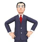 Confident Businessman Means Honored Executive和Corporation 免版税库存图片
