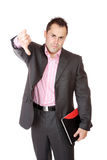 Confident businessman with notebook Stock Images