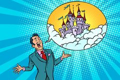 Free Confident Businessman Offers A Fabulous Castle In The Sky Stock Image - 107529151