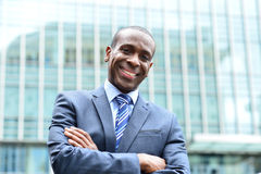 Confident businessman outside his office Stock Image