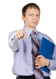 Confident businessman pointing at camera Royalty Free Stock Image