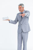 Confident businessman pointing at camera Royalty Free Stock Photo