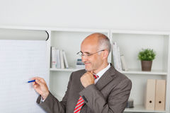 Confident businessman pointing on flipchart Stock Image
