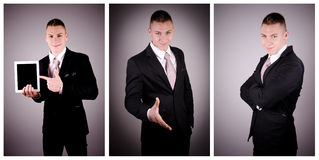 Confident businessman portrait mix. Royalty Free Stock Photo