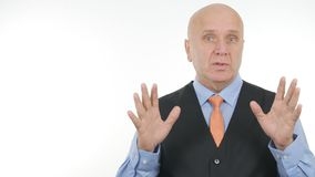 Businessman Portrait Speaking and Gesturing in Interview royalty free stock images