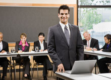 Confident businessman preparing for presentation Stock Photos
