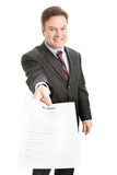 Confident Businessman Presents Resume Stock Images