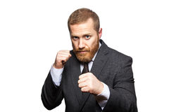 Confident businessman ready for fight and boxing. Royalty Free Stock Images