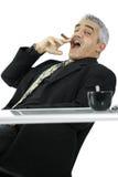Confident businessman smoking cigar Stock Photo