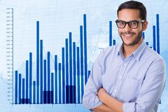 Confident businessman standing arms crossed against graph. Digital composite of Confident businessman standing arms crossed against graph Royalty Free Stock Photography