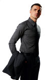 Confident businessman standing and looking up Stock Images