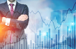 Confident businessman and stock broker, city Stock Images