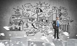 Successful confident businessman in suit. Confident businessman in suit standing on pile of documents among flying paper planes with business-plan information stock illustration