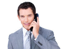 Confident businessman talking on phone Royalty Free Stock Photos