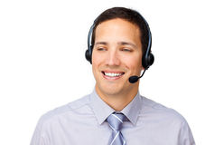 Confident businessman using headset Stock Photos