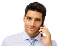 Confident Businessman Using Smart Phone Royalty Free Stock Photography