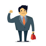 Confident businessman. Vector illustration of businessman in middle age, holding fist with carrying briefcase, business concept in confident stock illustration