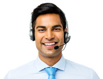 Confident Businessman Wearing Headset Royalty Free Stock Images