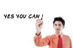 Confident businessman writes on whiteboard 1 Stock Images