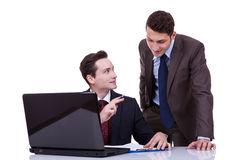 Confident businessmen sharing ideas Royalty Free Stock Images
