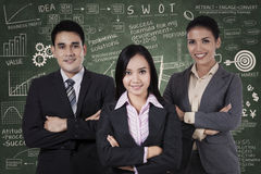 Confident businesspeople with business formula Stock Photography