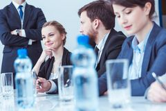 Free Confident Businesswoman At Board Meeting Stock Images - 93436134