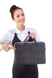 Confident Businesswoman With Briefcase. All Stock Photo