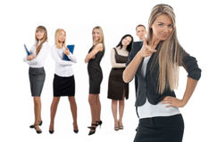 Confident businesswoman with colleagues Royalty Free Stock Image