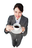 Confident businesswoman drinking a cup of coffee Royalty Free Stock Photos