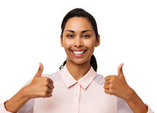 Confident Businesswoman Gesturing Thumbs Up Royalty Free Stock Images